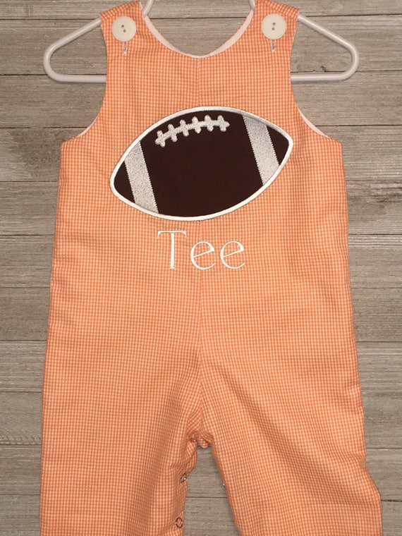 Custom made Personalized Monogrammed Football Longall Romper, Fall Football