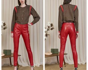 vintage 70s/80s GIORGIO ARMANI red accent silk wool plaid check collarless shirt