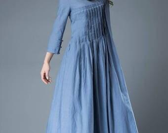 Maxi dress, linen dress, blue dress, loose dress, womens dresses, dress, pleated dress, linen dresses for women, pleated dress vintage C811