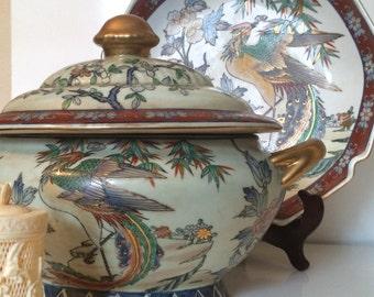 Vintage Asian Ceramic Decor Tureen and Platter