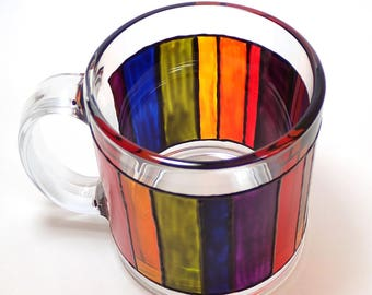 Hand Painted Glass Mug - Rainbow Blocks - Translucent Red, Orange, Yellow, Green, Blue, Purple Stripes with Black Outline on Clear Glass Mug