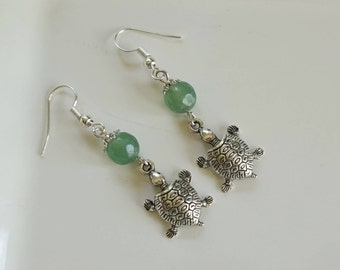Green Glass Turtle Earrings, Women's Green Earrings,  Green Dangle Earrings