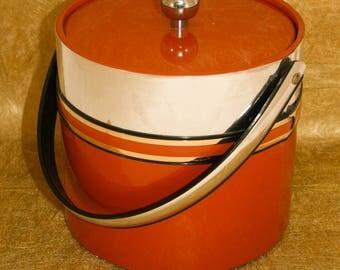 Vintage Burnt Orange, Silver & Gold Trimmed Ice Bucket