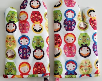 Russian Dolls Kitchen Oven Mitt, Matryoshka, Stacking, Nesting Dolls Cook, Chef, Bake, Baker, Cookware