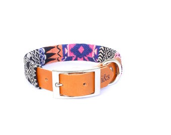 Dog Collar with Textile Sleeve | Pink Tapestry | Optional ID Tag
