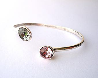Swarovski bracelet, open cuff, adjustable bracelet, grey bracelet, pink bracelet, trend 2018, silver bracelet, crystal bracelet