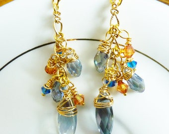 Blue Wire Wrapped Diamond Crystal Cluster Earrings With Orange and Blue Crystals