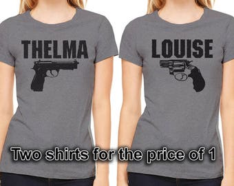 THELMA and LOUISE set of 2 shirts. Ladies and Unisex sizes. Ultra soft, Bella + Canvas