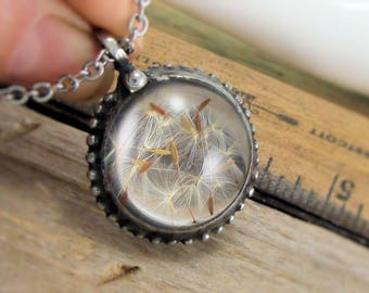 ReaL DaNdeLioN SeeD Necklace: Real Pressed Dandelion Seed Terrarium Wish Necklace Rustic Nature Jewelry Eco Friendly Gypsy Boho Jewelry