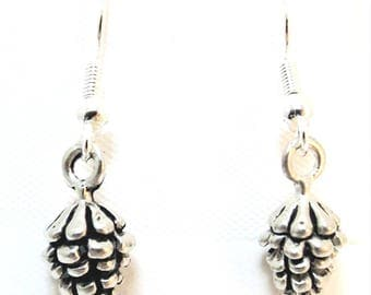 Pewter Pine Cone Charms on Sterling Silver Ear Wire Dangle Earrings -0028