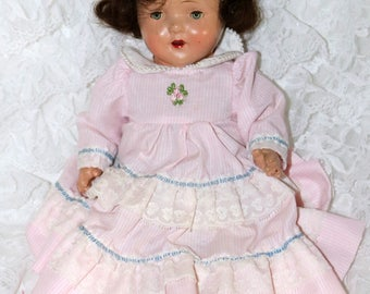 Vintage 1930s/40s Composition Toddler Doll - Cloth Body - Unmarked - Tin Sleep Eyes - Mohair Wig