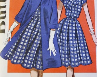 1950s One Piece Dress, Full Skirt, Vintage Sewing Pattern, Butterick 9663,  Bust 34