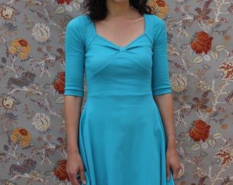 Short retro turquoise blue Jersey dress