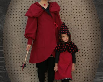 Andrew red large hooded coat