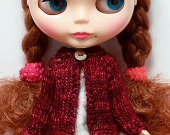 BLYTHE doll hand knit wool cardigan sweater - deep red
