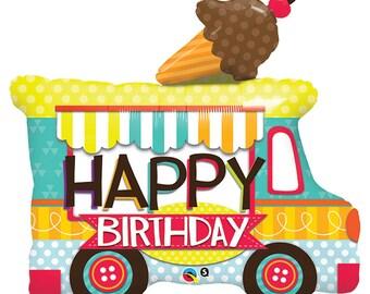 "ICE CREAM Truck BALL00N Happy Birthday 36""  Large Ice cream truck shape Foil Balloon, IceCream Bar, first birthday, school, party, kids park"