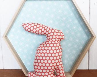 Bunny polka dot coral and off-white, oeko tex 21 cm