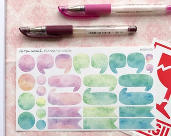 Planner Stickers - Watercolor Bubbles Set of 29