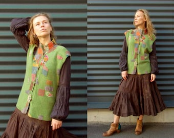 Boho Gypsy vest, Eco friendly woman clothing, Hand knitted, Green wool Vest jacket, Upcycled recycled clothes, Multicolor, Womens waistcoat