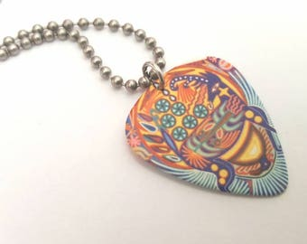 Colorful Guitar Pick Necklace with Stainless Steel Ball Chain