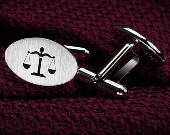 Lawyer gift - Lawyer Cufflinks Sterling Silver – Iustitia Cufflinks – Scales of Justice – Law Cufflinks