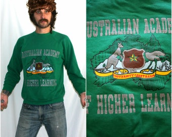 Australian Academy Of Higher Learning Crewneck 80s Sweatshirt. Retro Hipster Green University of Australia Hipster Rocker Sweatshirt.