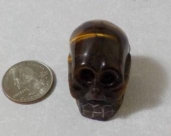 Natural Golden Tiger's Eye Hand Carved Skull TGSK-2