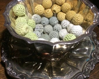 1 Dollar Shipping! Over 400! 12 mm Crocheted Wooden Beads in Cotton, Sage,  Marigold and Ash