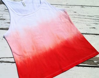 Made To Order // Coral Ombre/Dip-Dye // Relaxed Fit Tank Top // Hand Dyed Sleeveless Shirt // Dip Dye Tank