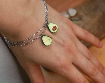 Avocado Friendship bracelet - fruit jewelry - friend jewelry - valentine bracelet - miniature food jewelry - BFF jewelry, valentine gift