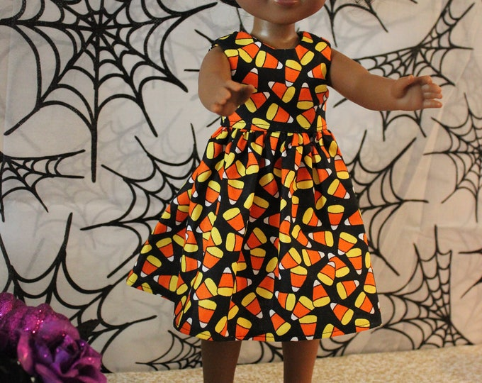 "Halloween Orange Candy Corn Dress,Shoes Made for the 14.5"" Dolls like American Girl, Wellie Wisher and Heart to Heart  FREE SHIPPING"