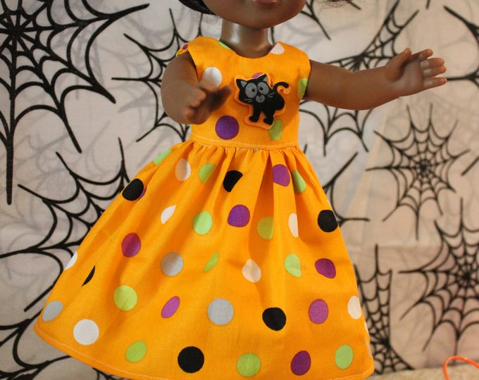 "Ready For Halloween Orange Polka Dot Dress,Shoes Made for the 14.5"" Dolls like American Girl, Wellie Wisher and Heart to Heart FREE SHIPPING"