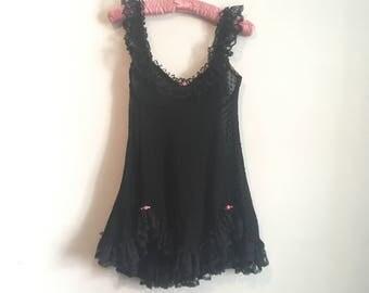 80s black ruffled teddy, lace lingerie babydoll, full skirt, small - vintage -