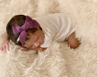 Purple cotton bow,  Headband Baby bow, pinwheel fabric headband, newborn headband, nylon girl