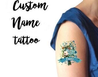 """Tatuaggio temporaneo personalizzato """"Fiori blu"""" con il tuo nome / Tatuaggio personalizzato per Matrimoni, Feste, Eventi / Tatuaggio con nome"""