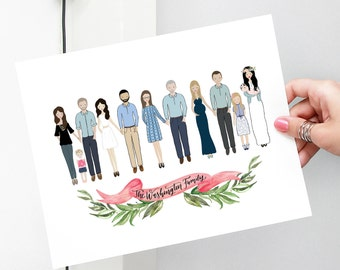 Custom portrait of family drawing Custom family illustration, personalized portrait family illustration with pets gift for mom, gift for dad