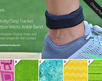 Geometric Print Activity/Step Tracker 100% Cotton Velcro Ankle Band – Encompasses Original Straps and Exposes Sensors for Skin Contact