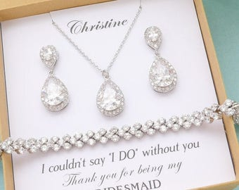 SALE Personalized Bridesmaid Gift, Bridesmaid Jewelry Set, Bridesmaid Earrings and Necklace Bracelet, Mother of Bride Jewelry, Bridal Party