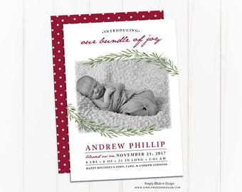 Holiday Birth Announcement Christmas Card, New bundle of joy, winter birth announcement, modern announcement, PRINTABLE/PRINTED CARDS