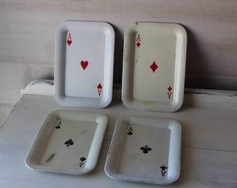 Vintage Mini Metal Trays, Ace, Card Deck, Hearts, Diamonds, Spades, Clubs, Set of 4