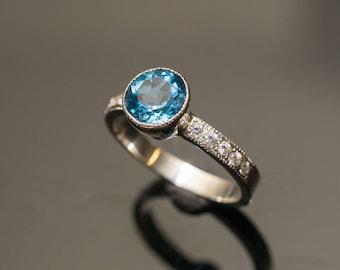 Blue Topaz Engagement Ring Topaz Diamond Ring Swiss Blue Topaz White Gold Topaz Ring Millgrain Detail Tapered Bezel Ring