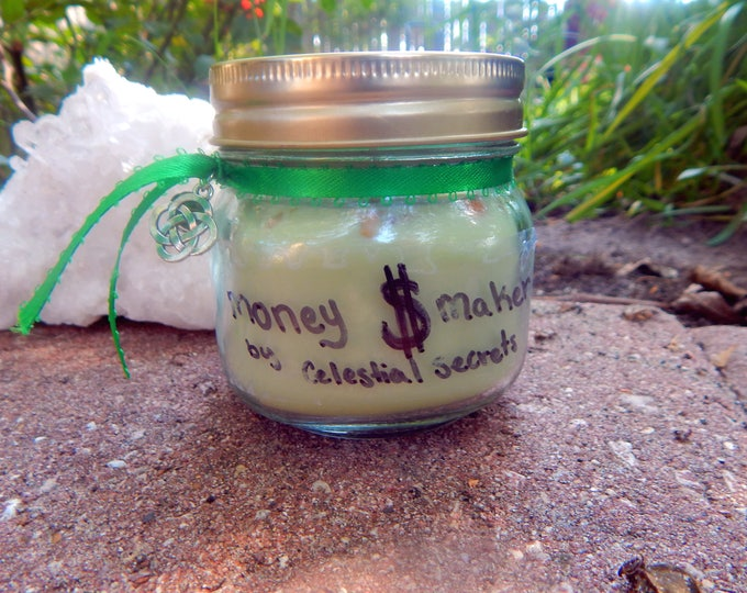 MONEY MAKER theme Jar Candle Ritual Prayer candle - Fixed, Dressed. - 100% Hand-crafted with soy wax, herbs and oils