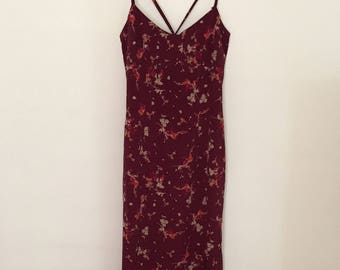 Plum Floral Print Slip Dress - Early/ Mid- 90s
