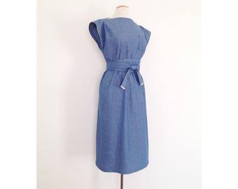 denim midi dress dina louise denim dress cotton boat neck tunic dress boatneck sleeveless chambray apron dress summer