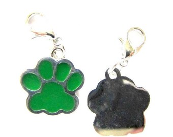 5 Pieces Green Enamel PAW with Clasp