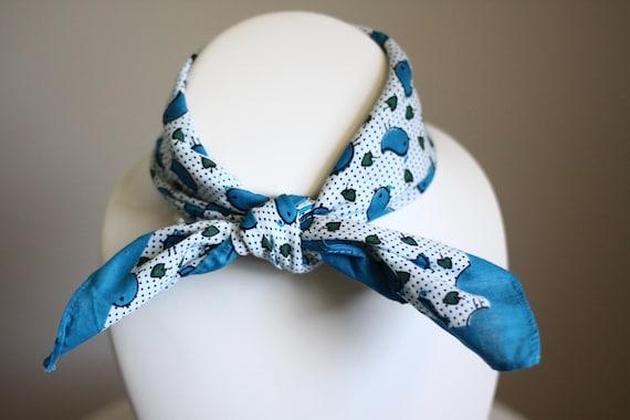 1980s bird bandana scarf // vintage neck scarf // vintage bandana