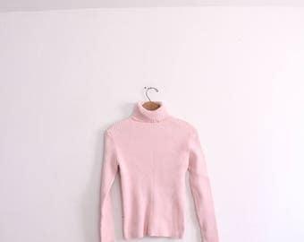 Pastel Pink 90s Ribbed Turtleneck Sweater