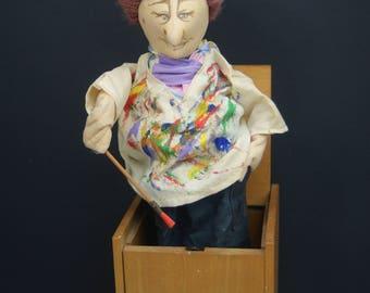 1987 Handmade Jax of Maine Artist - Painter Jack in The Box