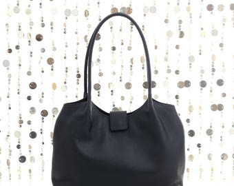 Soft black leather bag, black leather tote bag, black leather handbag, black bag, shoulder bag, black leather purse, soft tote FREE SHIPPING
