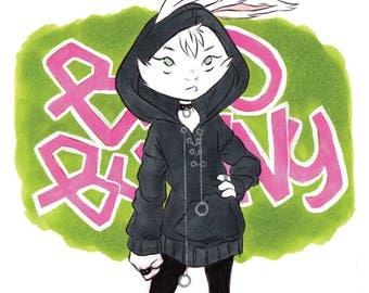 Bad Bunny - Bunny Girl on Graffiti Background INKtober Fashion Art Print
